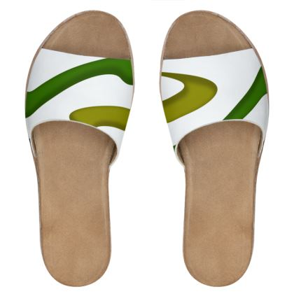 Women's Leather Sliders - Simple Colours (White)