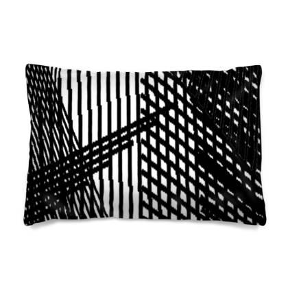 Geometric Black and White Line Light Cushion