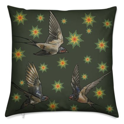Swallows and Stars Cushion Cover - Moss