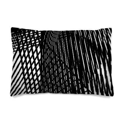 Geometric Black and White Line Dark Cushion