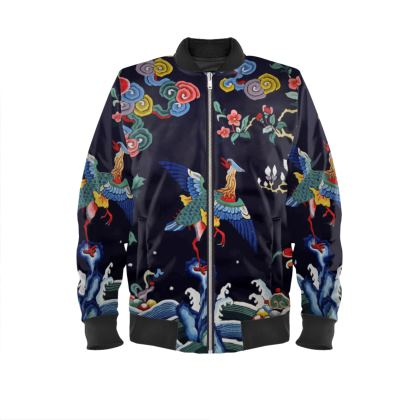 Chinese Edo Print Velvet Bomber Jacket