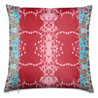 Red Teasel Border Luxury Cushion