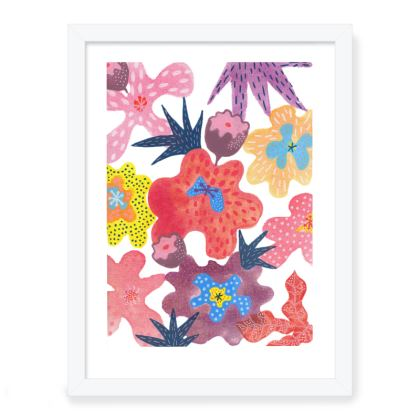 Framed Art Prints Berrylicious hand painted floral abstract