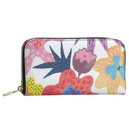 Leather Zip purse Berrylicious hand painted abstract floral