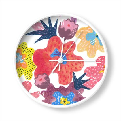 Wall clock Berrylicious hand painted floral abstract