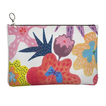 Leather Clutch Bag Berrylicious hand painted abstract floral