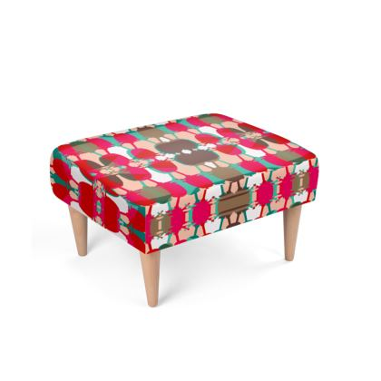 Red Geo Teasel Footstool