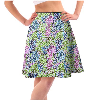 Leopard Skin Multicoloured Collection Flared Skirt
