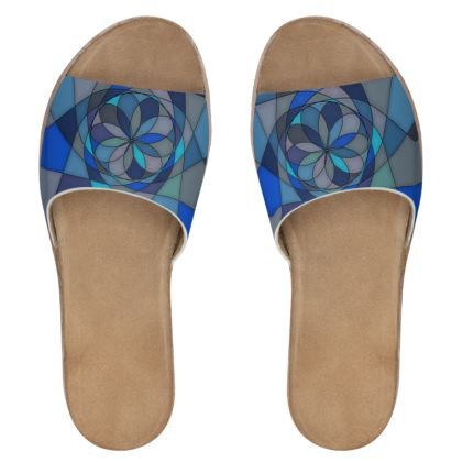 Women's Leather Sliders - Blue spiral