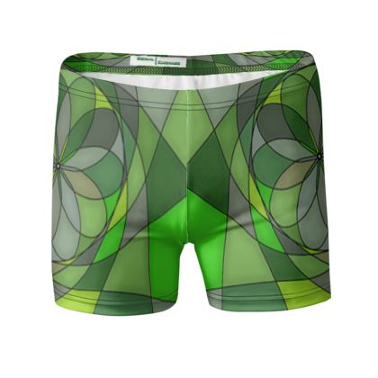 Swimming Trunks - Green spiral