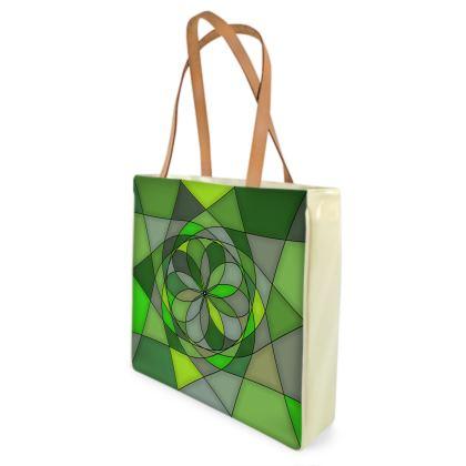 Beach Bag - Green spiral