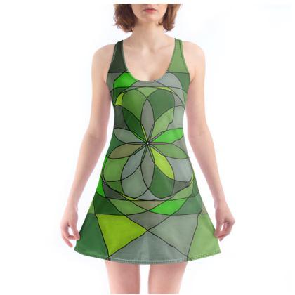 Beach Dress - Green spiral