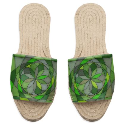 Sandal Espadrilles  - Green spiral