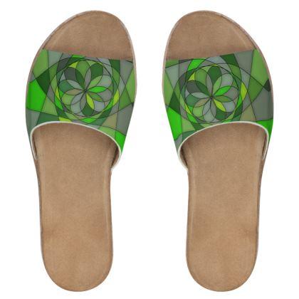 Women's Leather Sliders - Green spiral
