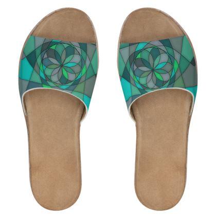 Women's Leather Sliders - Jade spiral