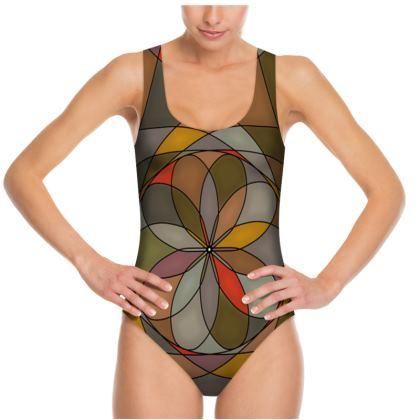 Swimsuit - Orange spiral