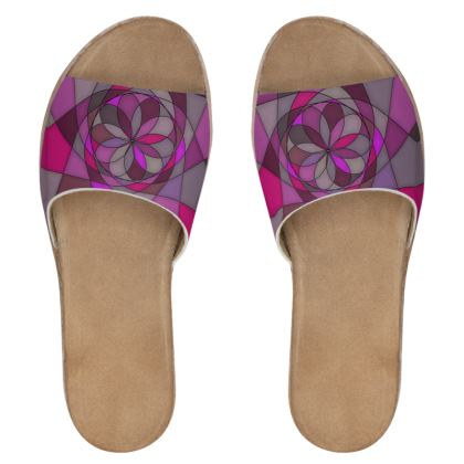 Women's Leather Sliders - Pink spiral
