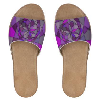 Women's Leather Sliders - Purple spiral