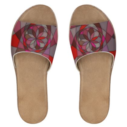 Women's Leather Sliders - Red Spiral