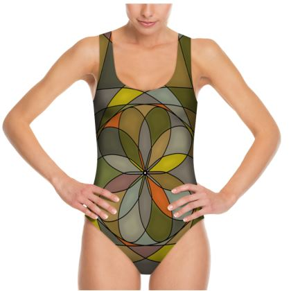 Swimsuit - Yellow Spiral