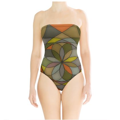 Strapless Swimsuit - Yellow Spiral