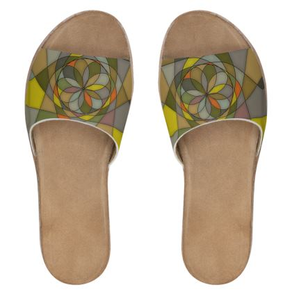 Women's Leather Sliders - Yellow Spiral