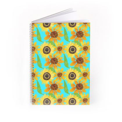 Naive Sunflowers On Turquoise Spiral Note Books