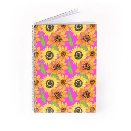 Naive Sunflowers On Fuchsia Spiral Note Books
