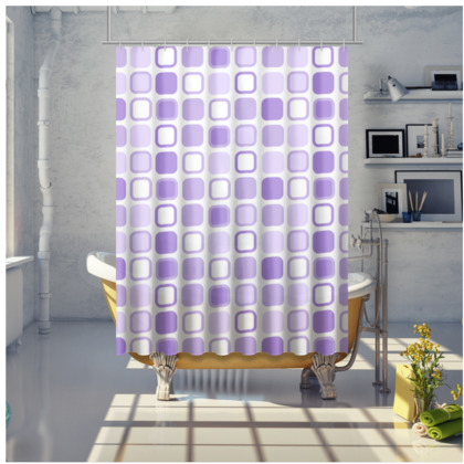 Purple Retro Design Shower Curtain