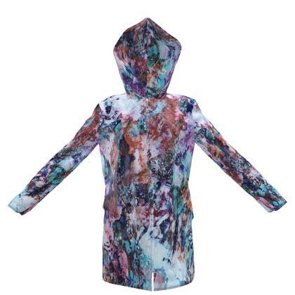 Womens Hooded Rain Mac Watercolor Texture 11 Rocks