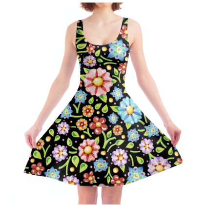 Millefiori Flowers Skater Dress