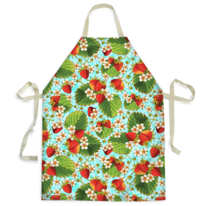 Strawberries on Blue Adult and Child Aprons