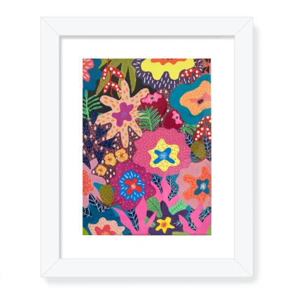 Framed Art Prints Secret Garden hand painted floral abstract