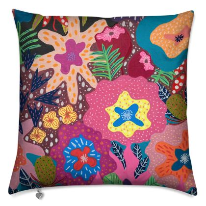Cushion Secret Garden hand painted floral abstract