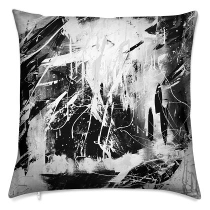 Mono Crome Abstract Cushion by Alison