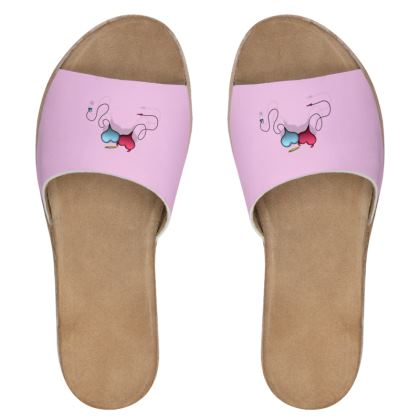 Women's Leather Sliders - Opposite Attraction