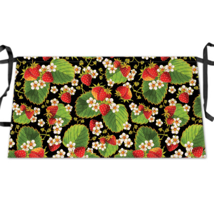 Botanical Strawberries Waist Apron