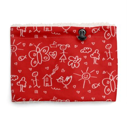 Snood Sherpa Scarf - Doodles in Red