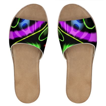 Women's Leather Sliders - Neon