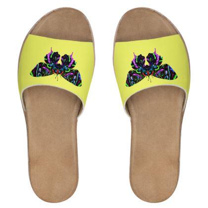 Women's Leather Sliders - Butterfly