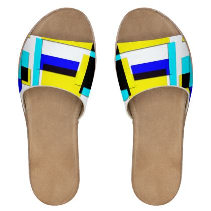 Women's Leather Sliders - Bright Squares