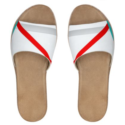 Women's Leather Sliders - Regal Stripes (White)