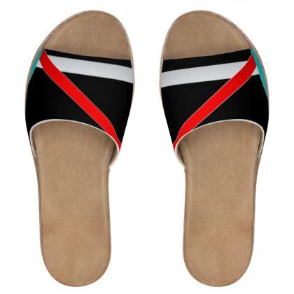 Women's Leather Sliders - Regal Stripes (Black)