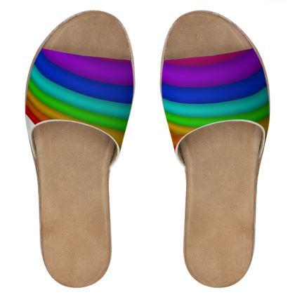 Women's Leather Sliders - Rainbow
