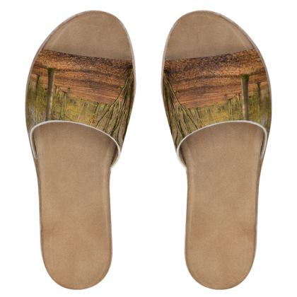 Women's Leather Sliders - Open Clearing in Clapham Woods