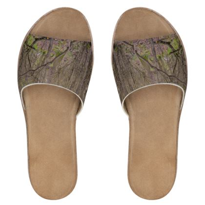 Women's Leather Sliders - Trail in the woods