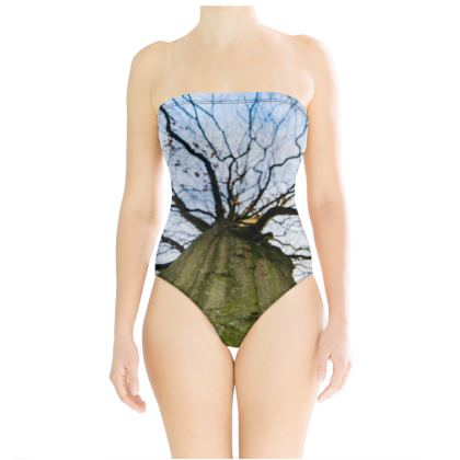 Strapless Swimsuit - Vertical Tree