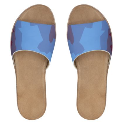 Women's Leather Sliders - Abstract Colours