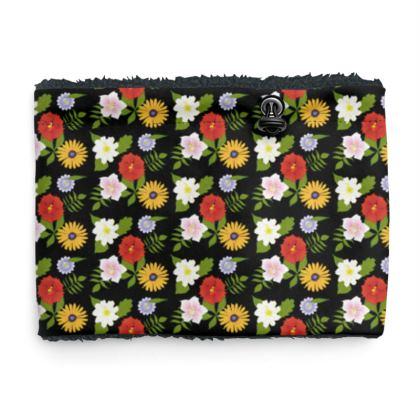 Snood Sherpa Scaf - Floral Design in Black