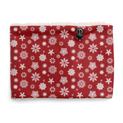 Snood Sherpa Scaf - Snowflake Pattern in Red